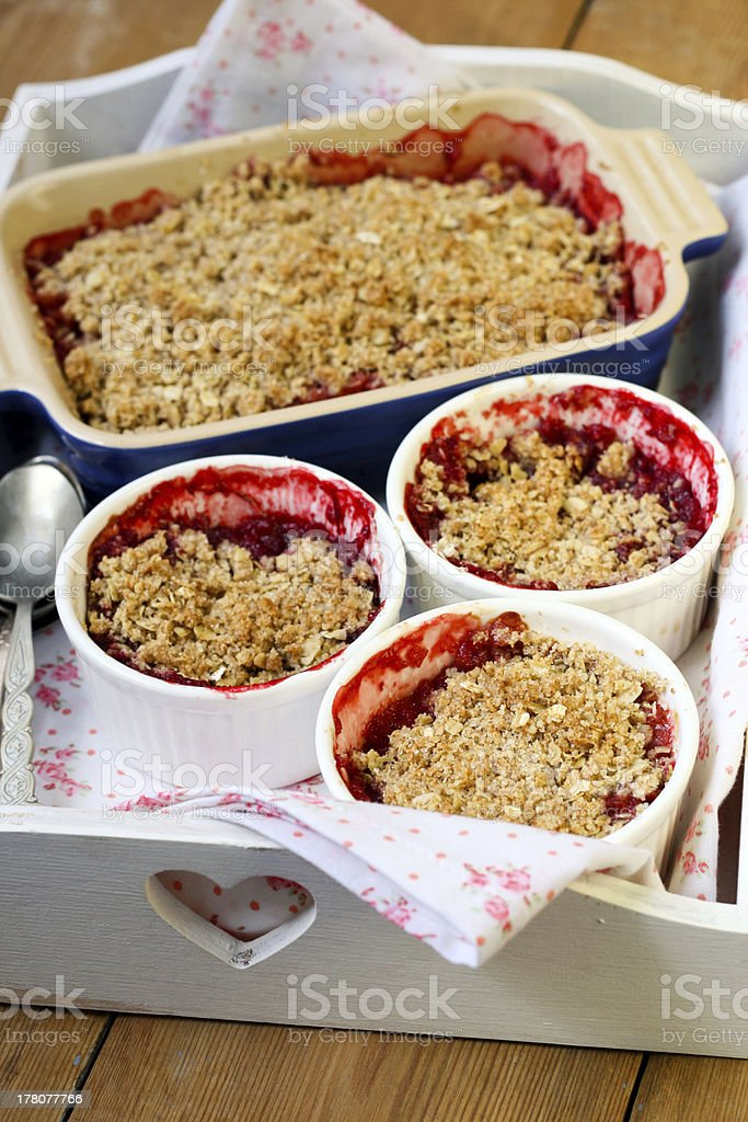 Strawberry and apricot crumble royalty-free stock photo