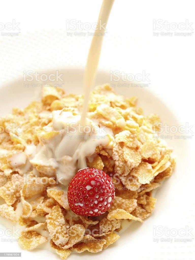 strawberry and corn flake royalty-free stock photo