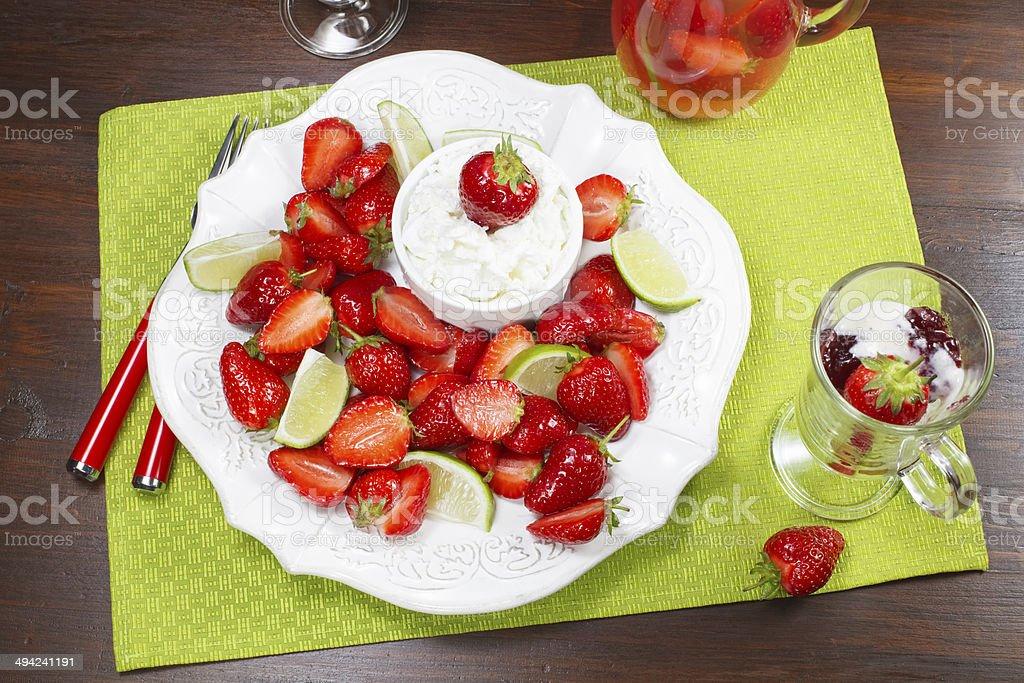 Strawberry and Mascarpone Dessert stock photo