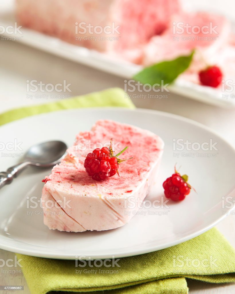 Strawberry and raspberry Semifreddo stock photo