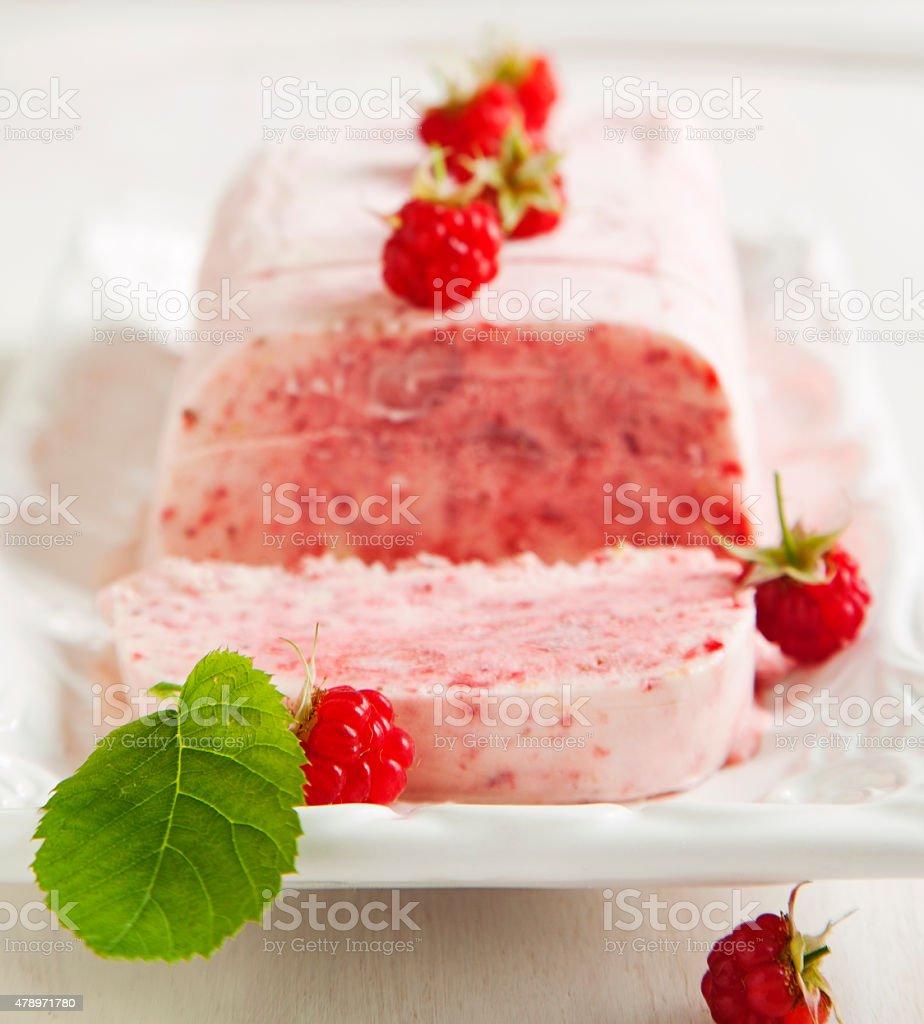 Strawberry and raspberry Semifreddo. stock photo