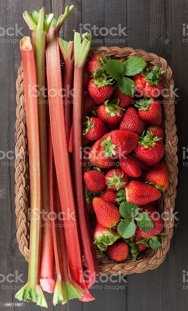 Strawberry and Rhubarb Just Picked stock photo