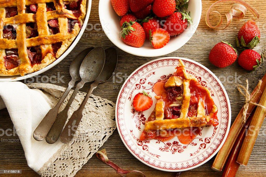 Strawberry and rhubarb lattice pie stock photo