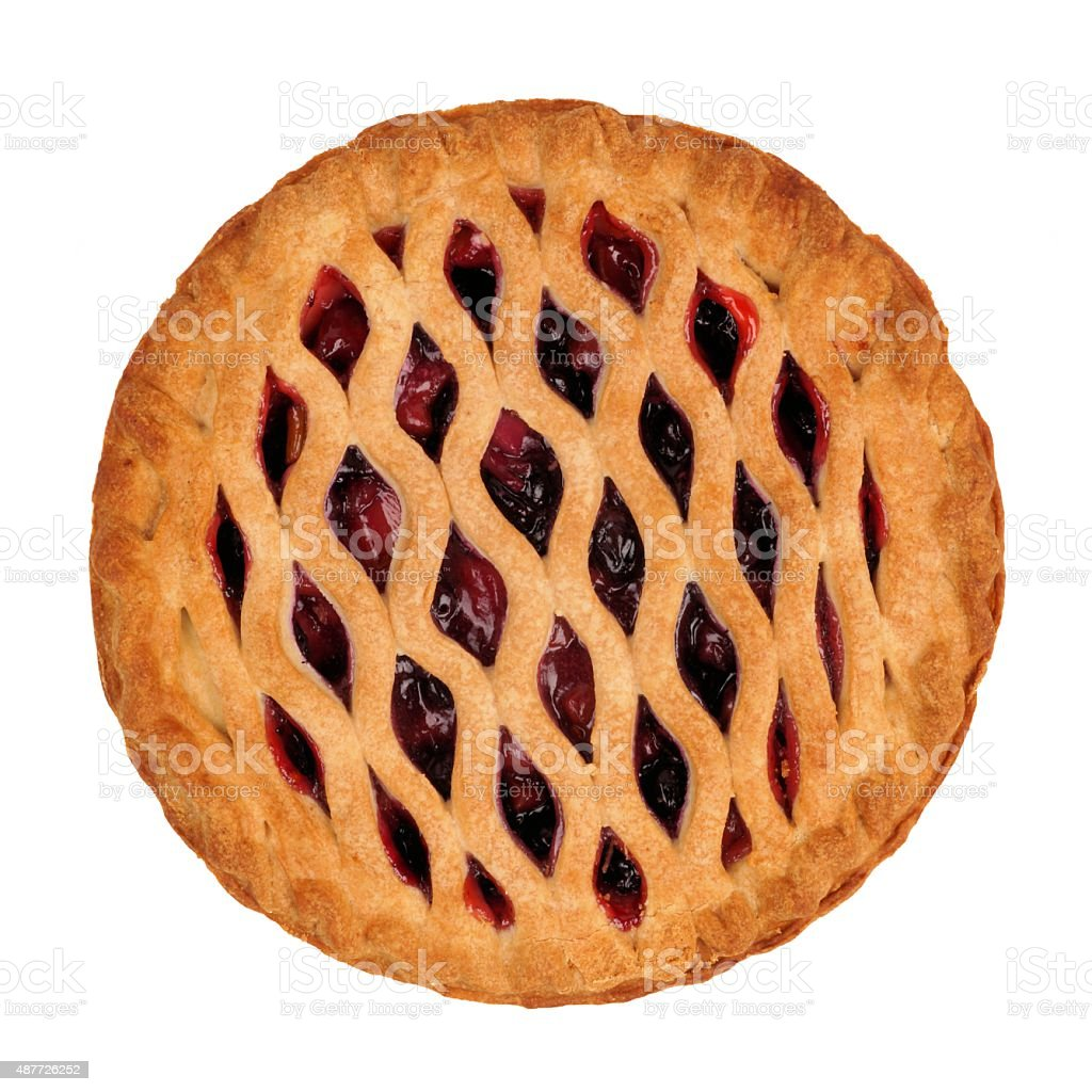 Strawberry and rhubarb pie isolated on white stock photo