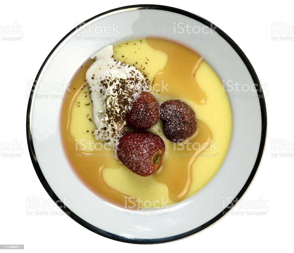 Strawberry and vanilla custard stock photo