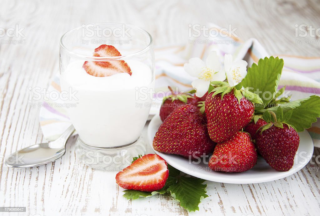 Strawberry  and yogurt stock photo