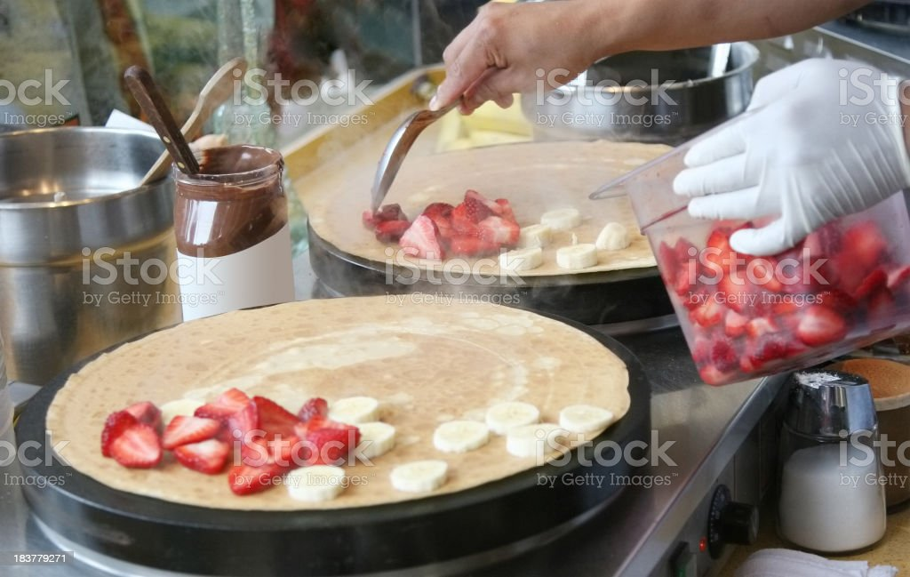 Strawberry Banana Pancake preparation royalty-free stock photo