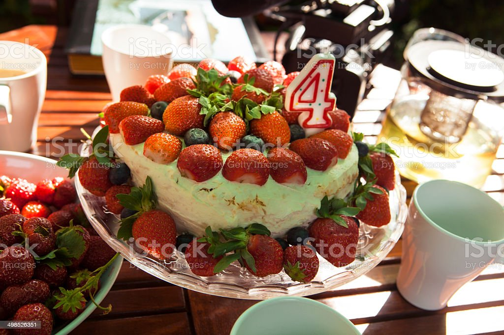 Strawberry Birthday Cake stock photo