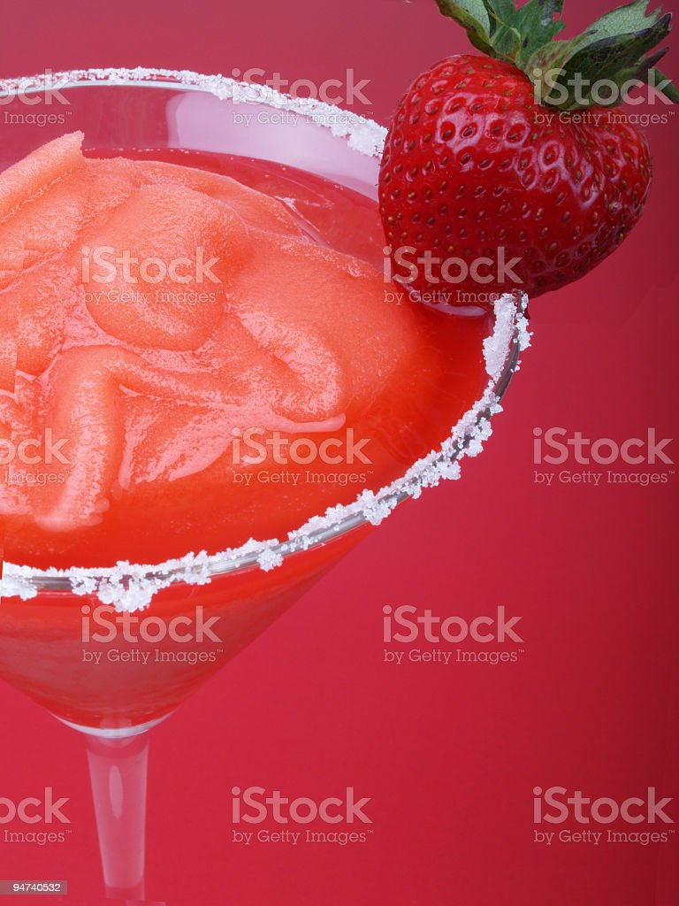 Strawberry Blended Drink with Sugar Rim royalty-free stock photo
