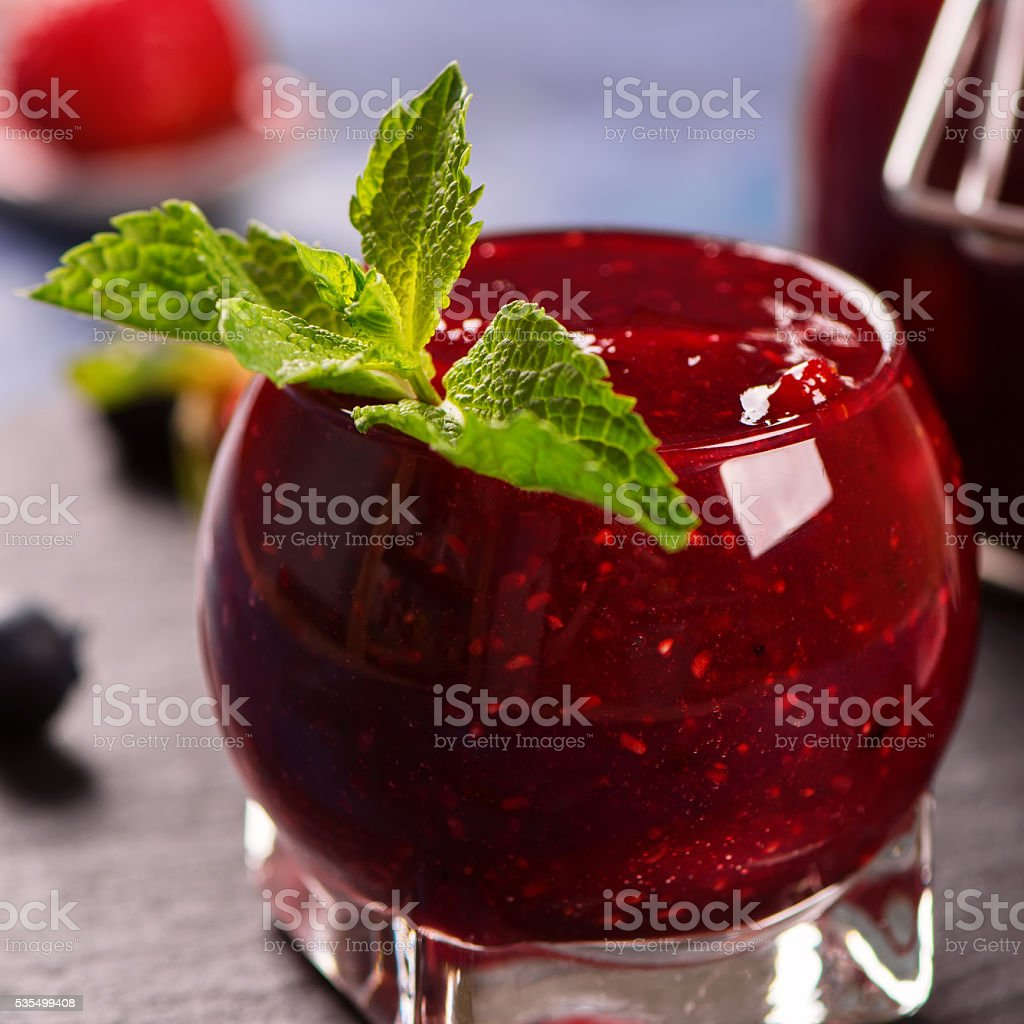 Strawberry, blueberry and raspberry jam stock photo