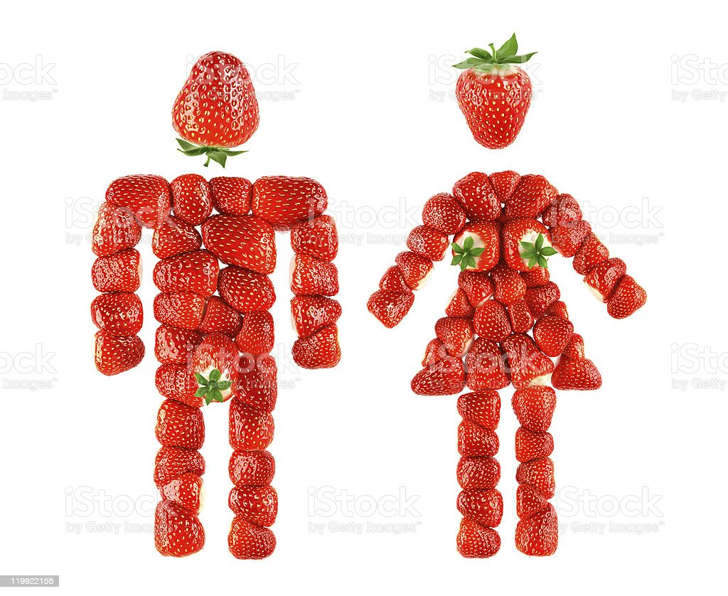 strawberry boy and girl stock photo