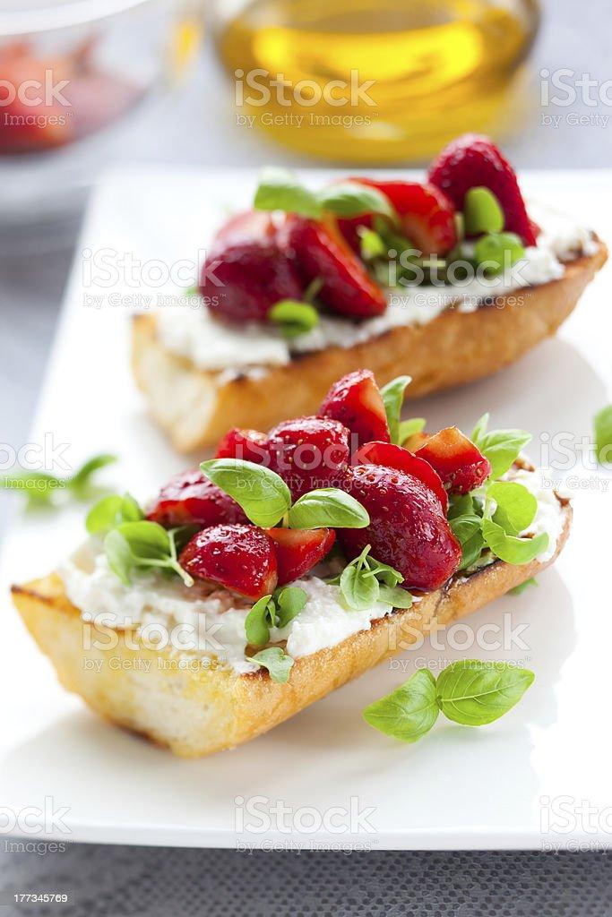 Strawberry bruschetta royalty-free stock photo