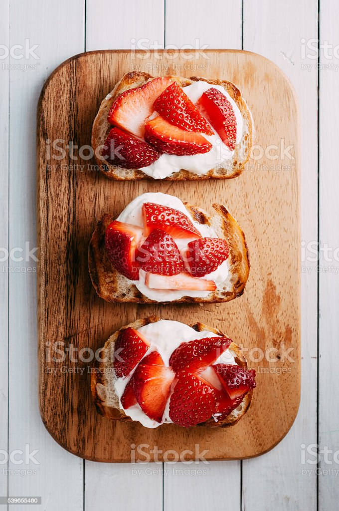 Strawberry bruschetta stock photo