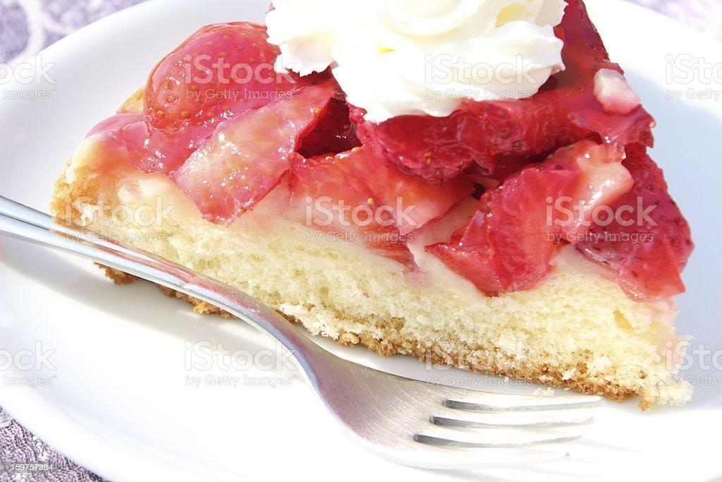 strawberry cake and cream stock photo