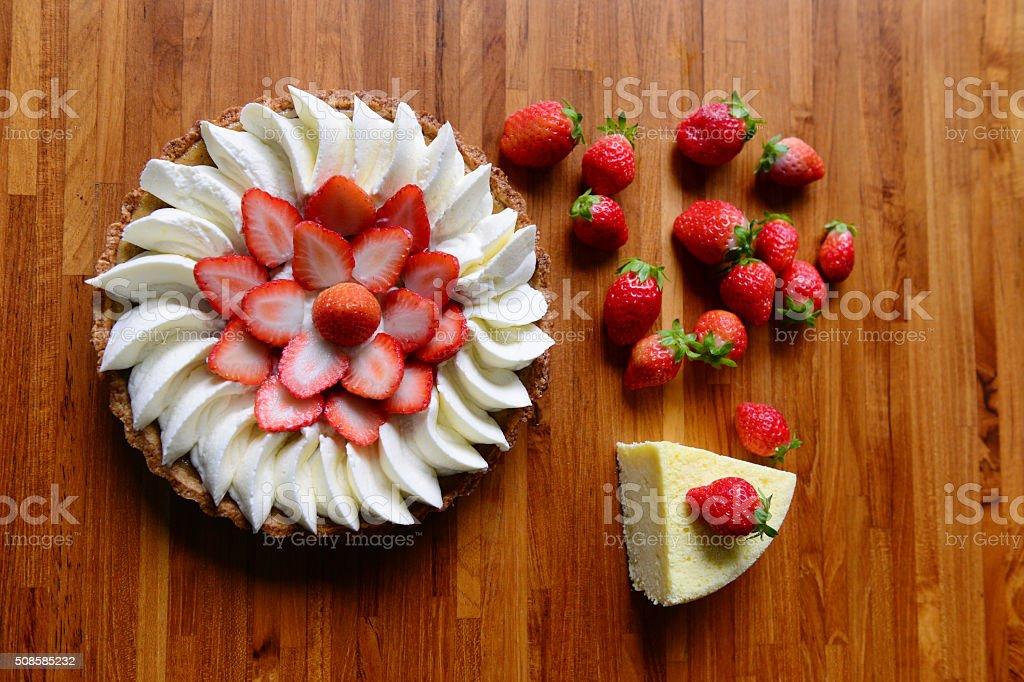 Strawberry cake and strawberry pie with fresh strawberries stock photo