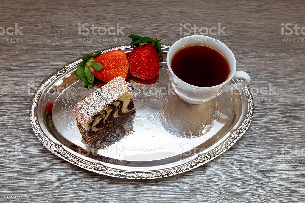 Strawberry  cake and  tea Latte stock photo