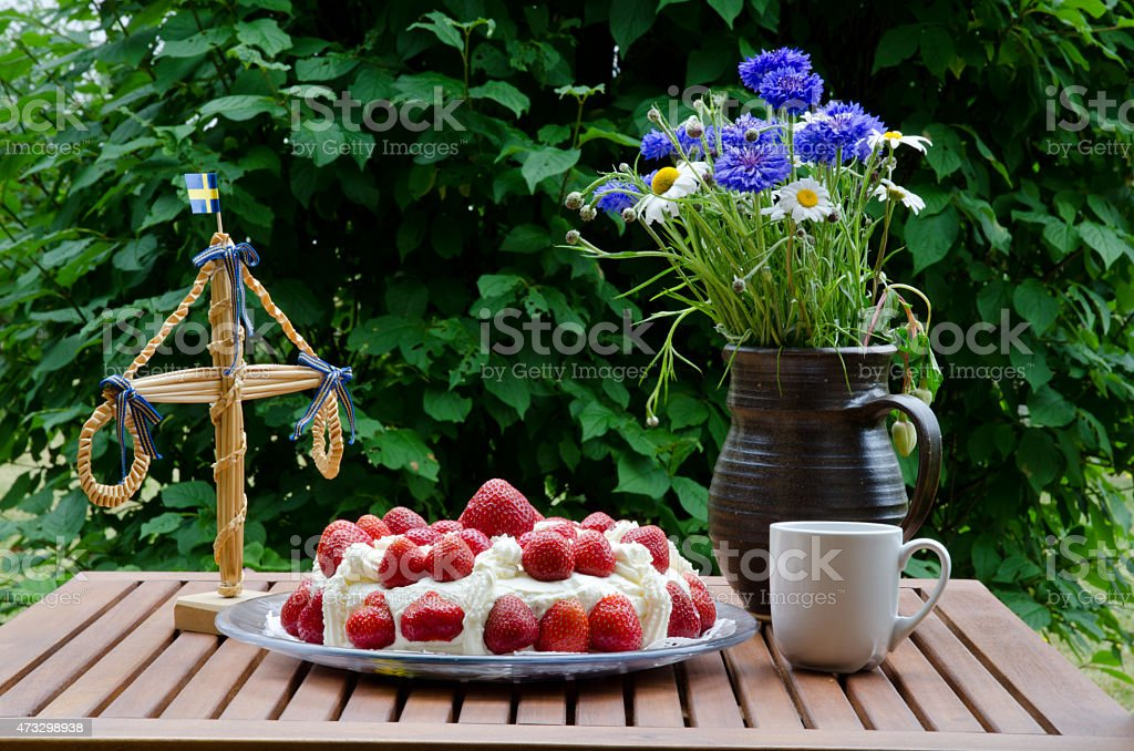 Strawberry cake at midsummer stock photo