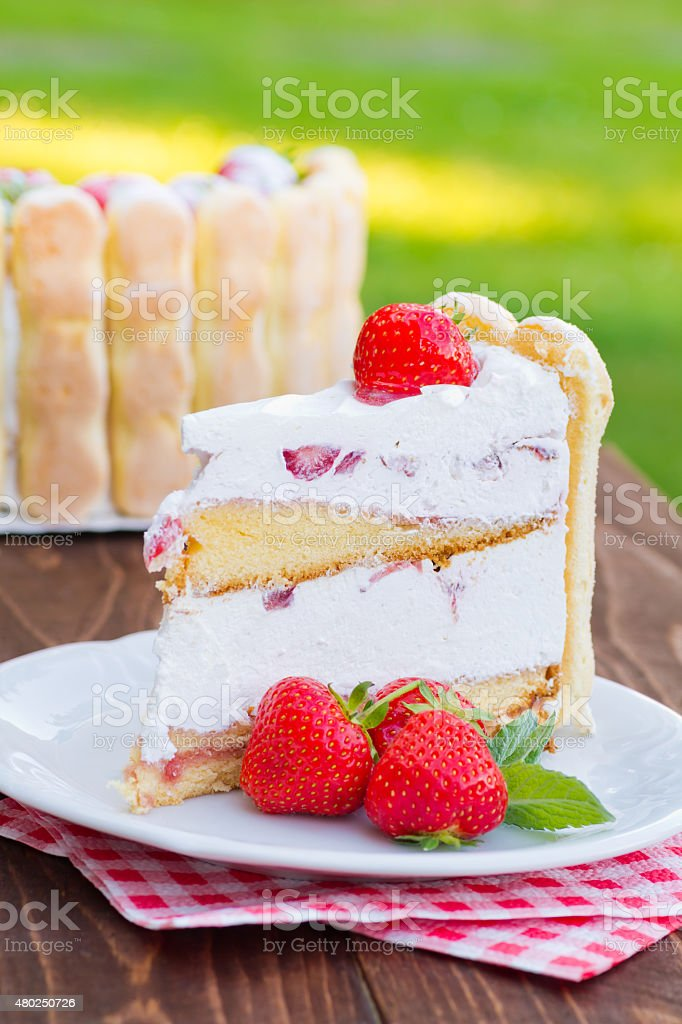 Strawberry cake Charlotte stock photo