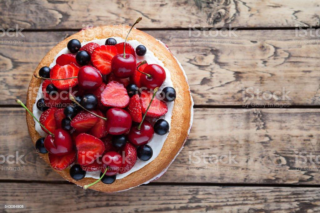 Strawberry cake traditional homemade sweet dessert bakery food stock photo
