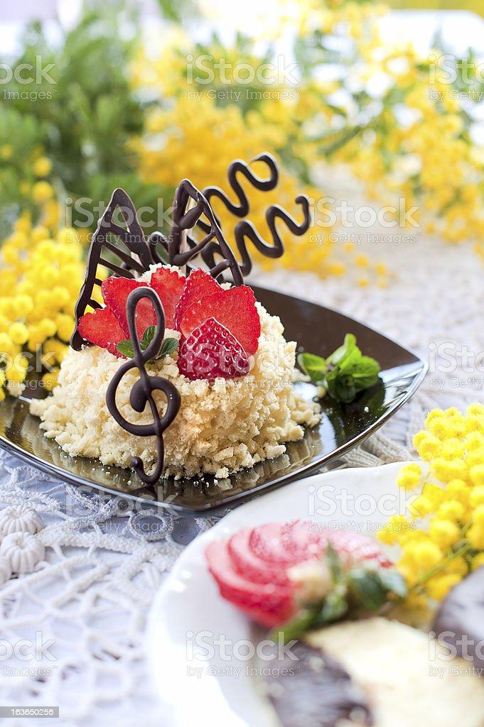 Strawberry cake with chocolate royalty-free stock photo