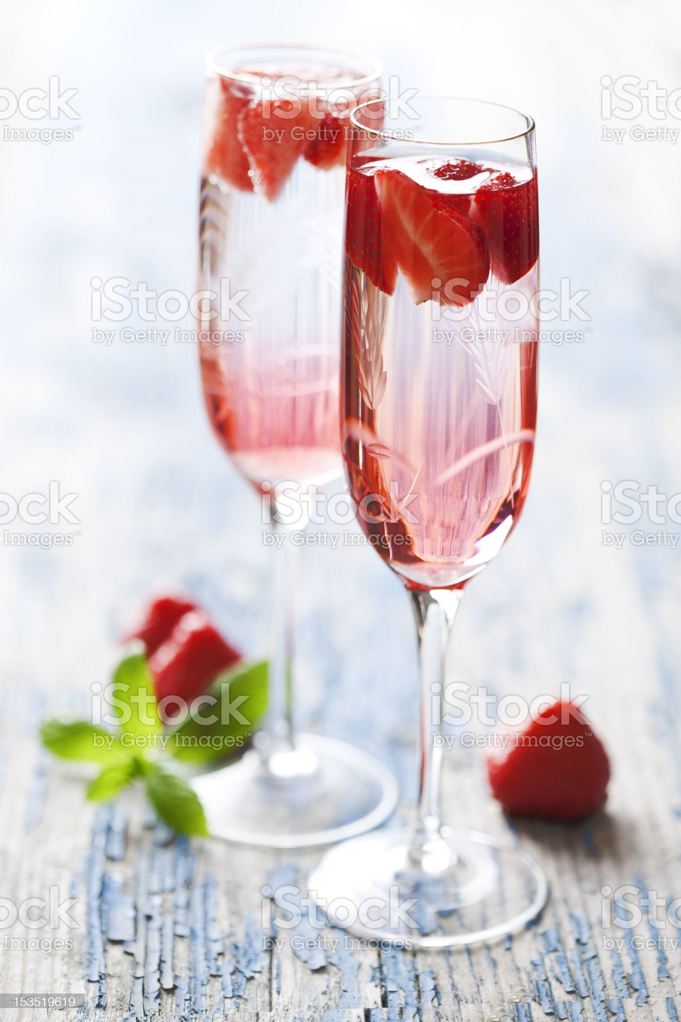 strawberry champagne cocktail royalty-free stock photo