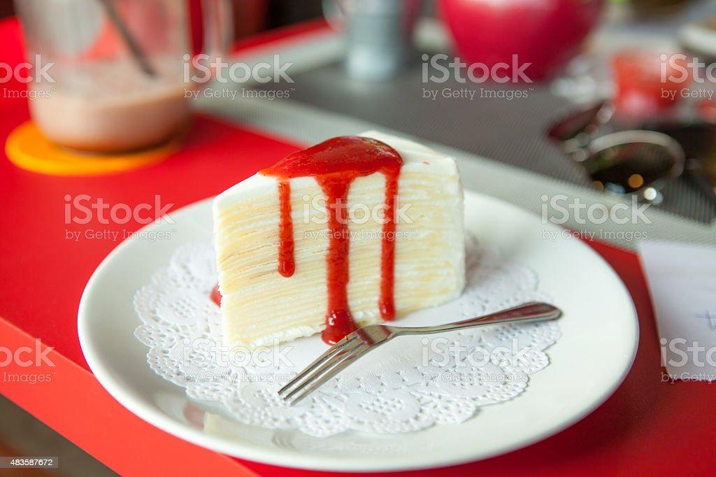 Strawberry cheese cake stock photo