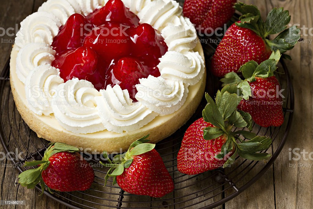 Strawberry Cheesecake And Strawberries royalty-free stock photo