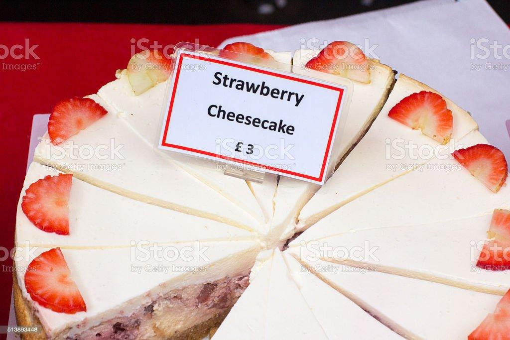 Strawberry Cheesecake in Borough Market, London stock photo
