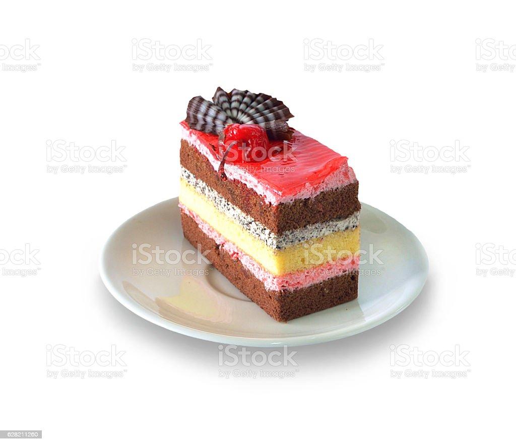 Strawberry cheesecake isolated on white background stock photo