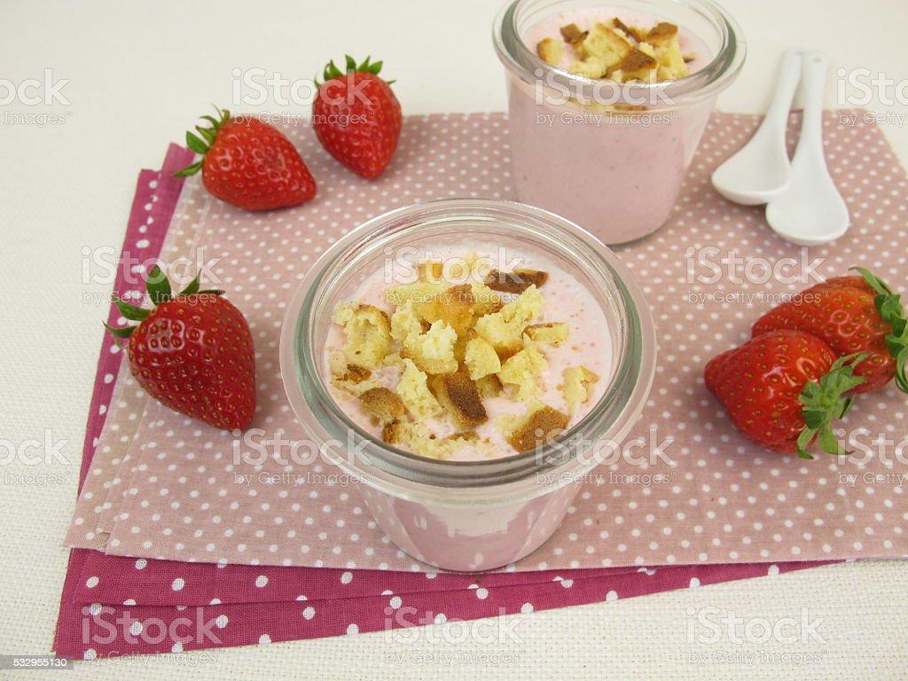 Strawberry cheesecake shake with cake crumbs stock photo