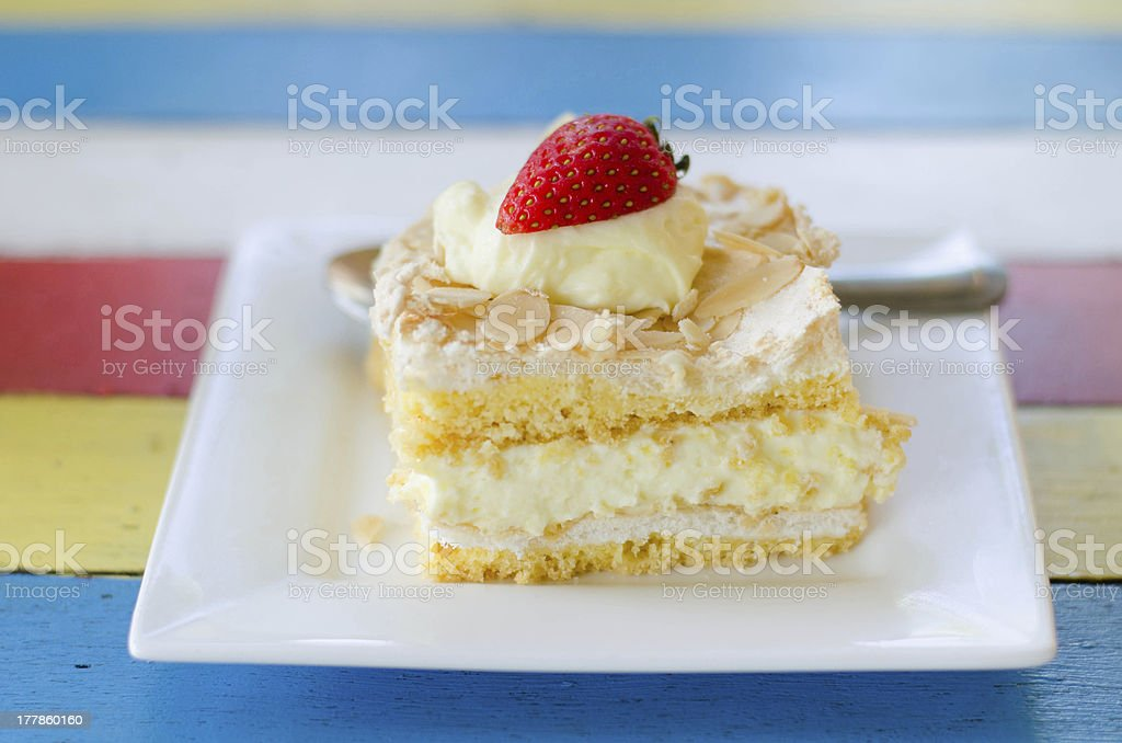 Strawberry Cheesecake Slice royalty-free stock photo