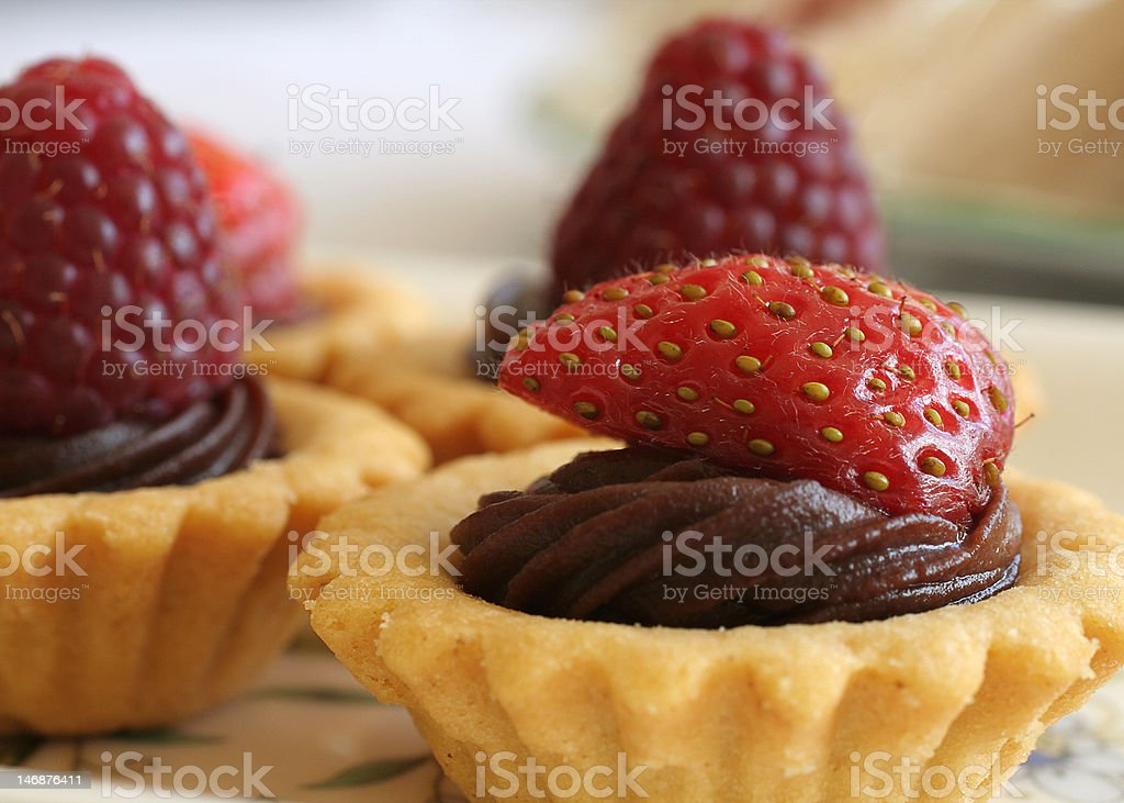 Strawberry & Chocolate Tartlet royalty-free stock photo