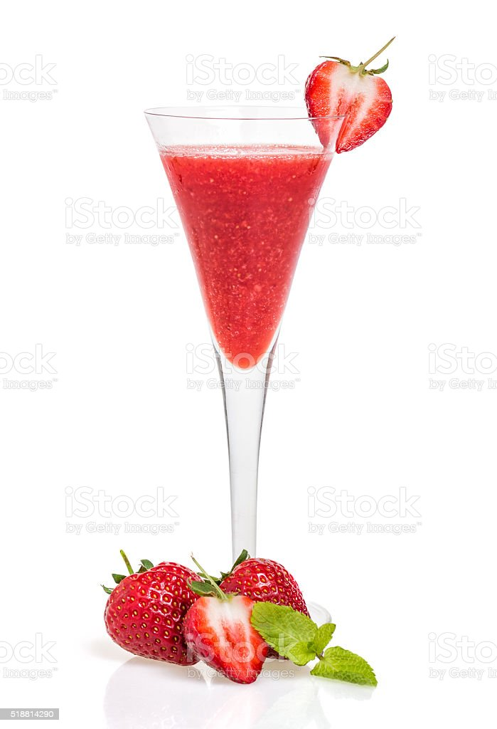 Strawberry cocktail in a champagne flute stock photo