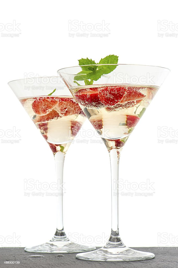 strawberry cocktail with berry in martini glass isolated on whit royalty-free stock photo
