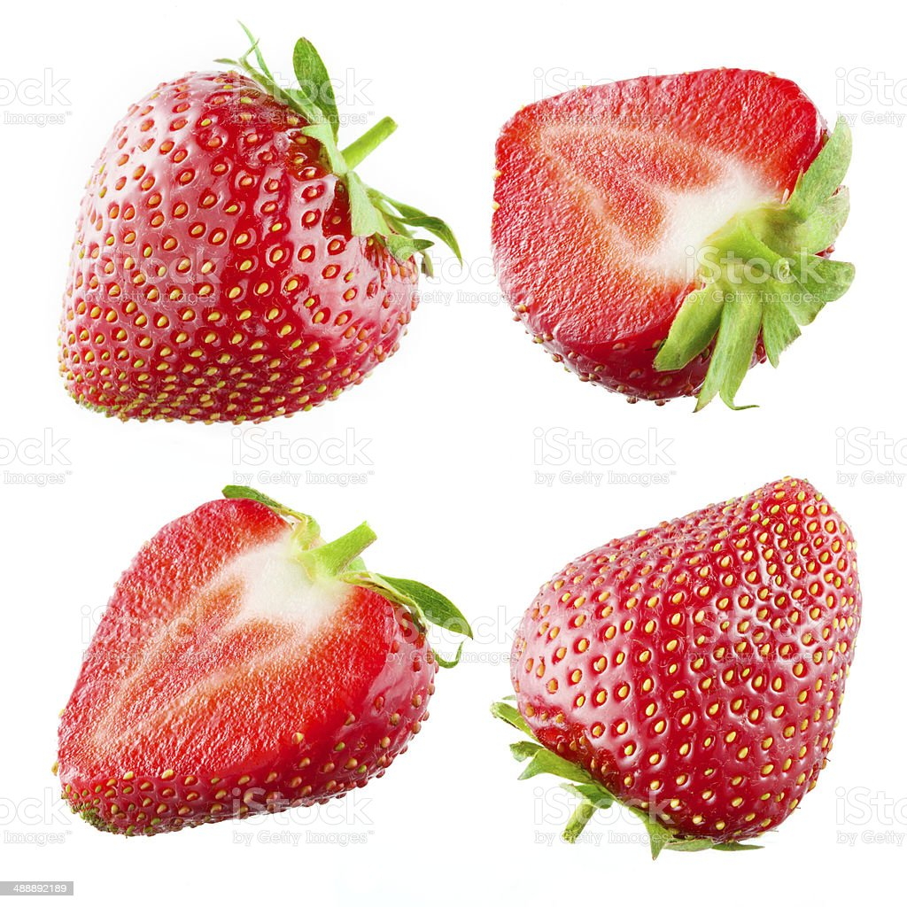 Strawberry. Collection isolated on white stock photo