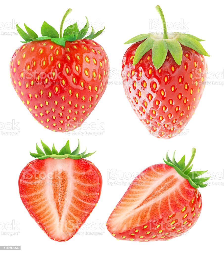 Strawberry collection isolated on white with clipping path stock photo
