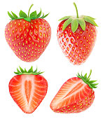 Strawberry collection isolated on white with clipping path