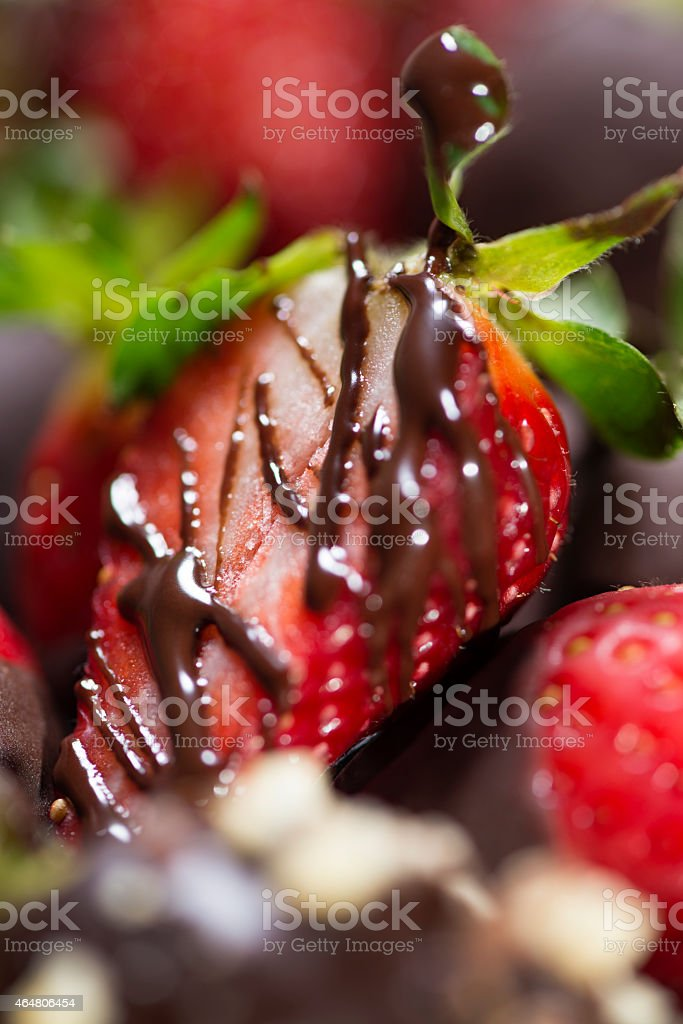Strawberry covered with chocolate stock photo