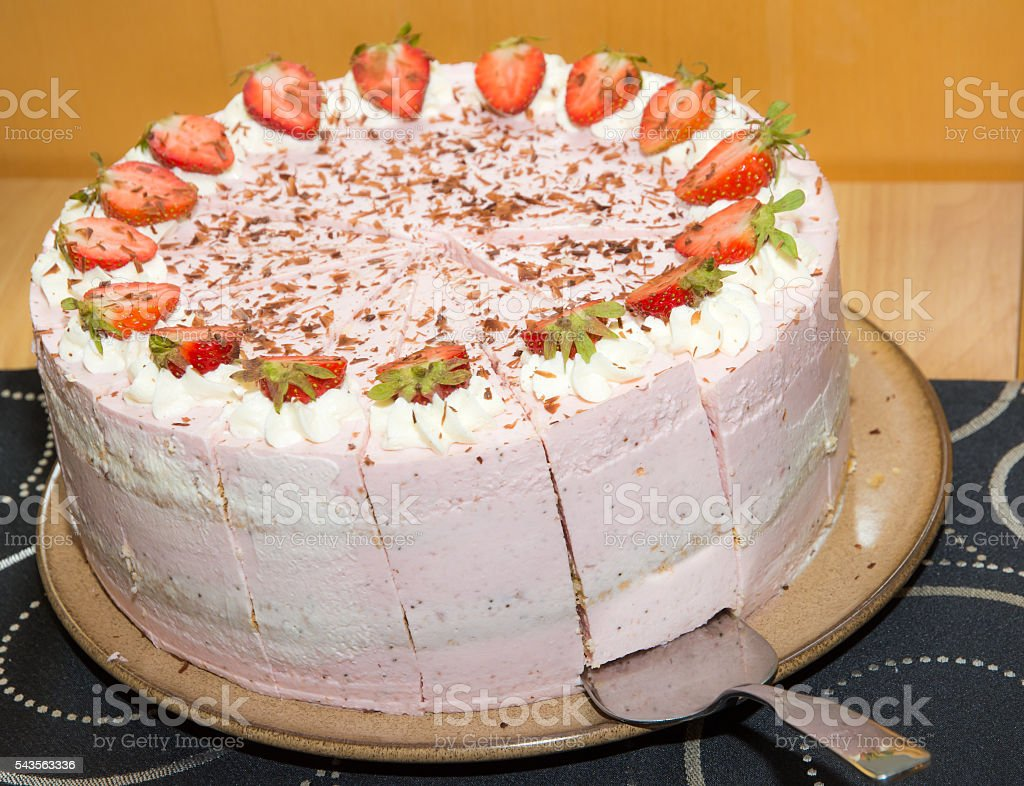 Strawberry cream tart stock photo