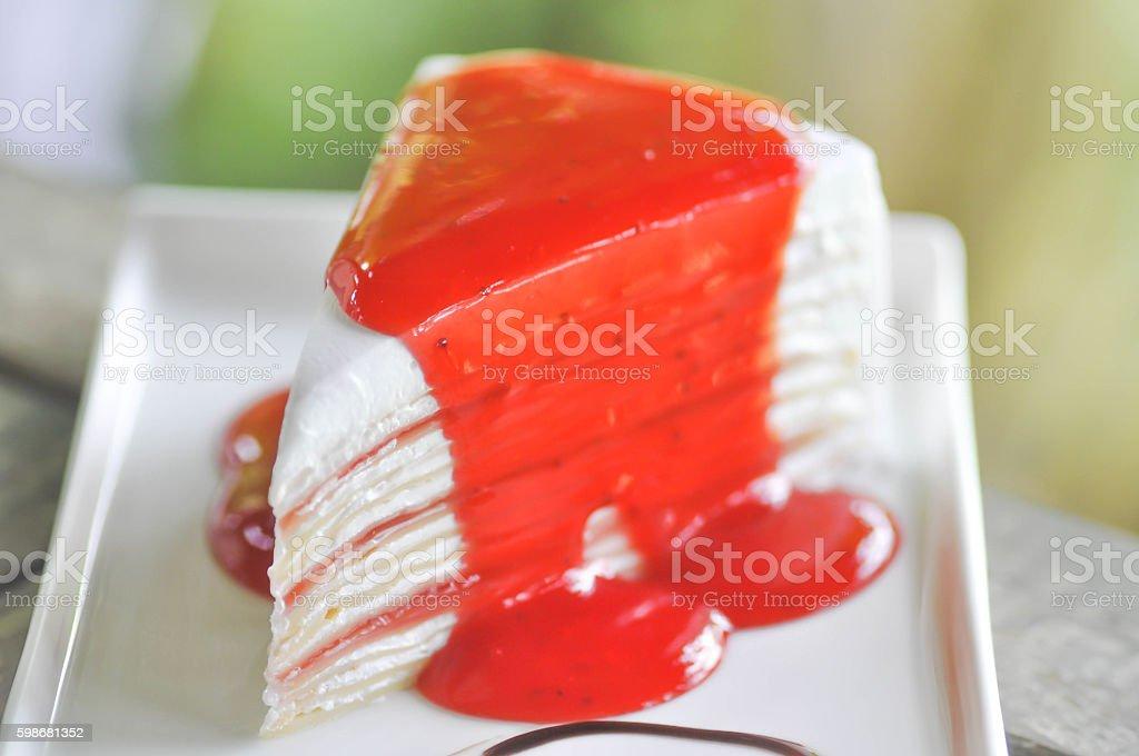 strawberry crepe cake stock photo