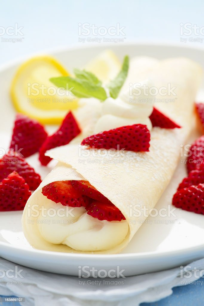 Strawberry Crepe stock photo