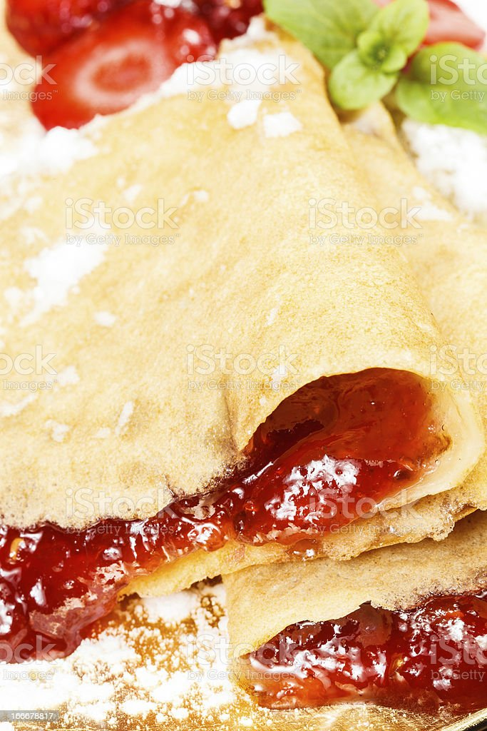 Strawberry crepes or pancakes royalty-free stock photo