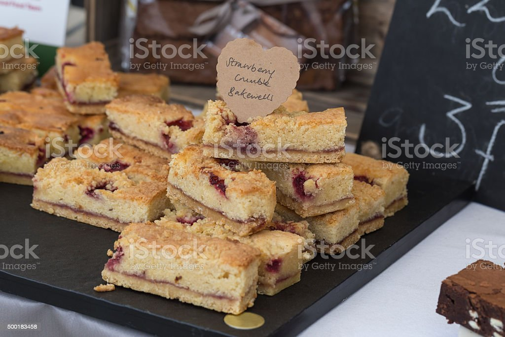 Strawberry Crumble Bakewells stock photo