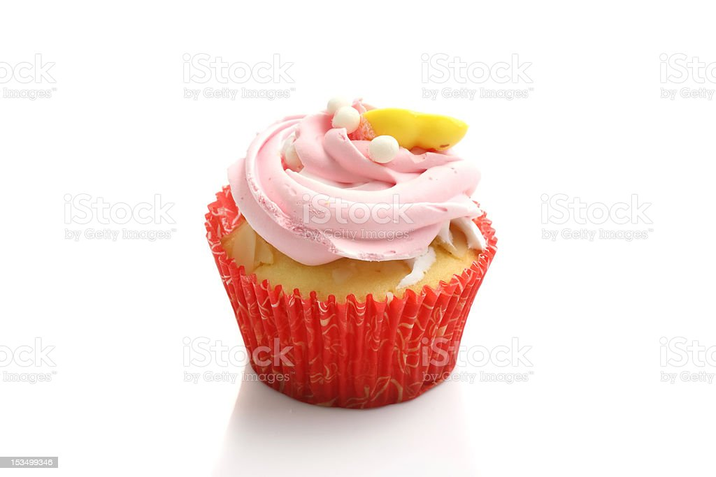 strawberry cup cake , sweet dessert isolated in white background royalty-free stock photo