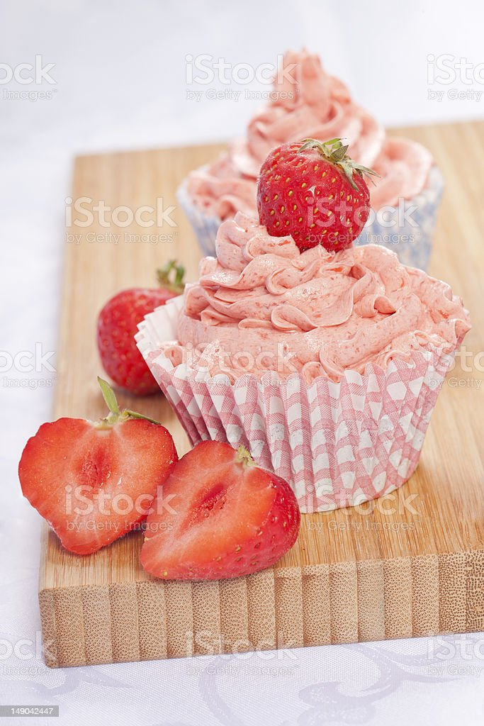 strawberry cupcakes royalty-free stock photo