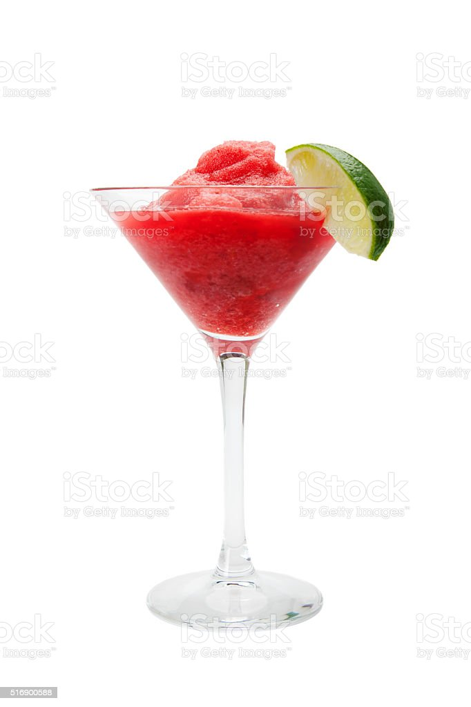 Strawberry daiquiri with lime stock photo