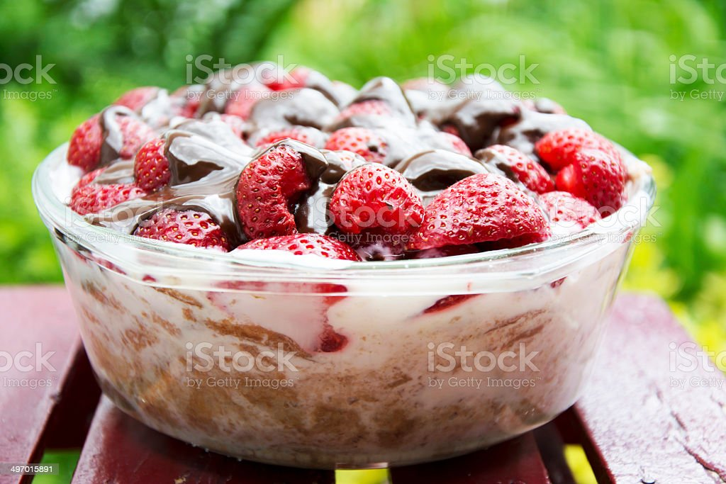 Strawberry delicious cake stock photo