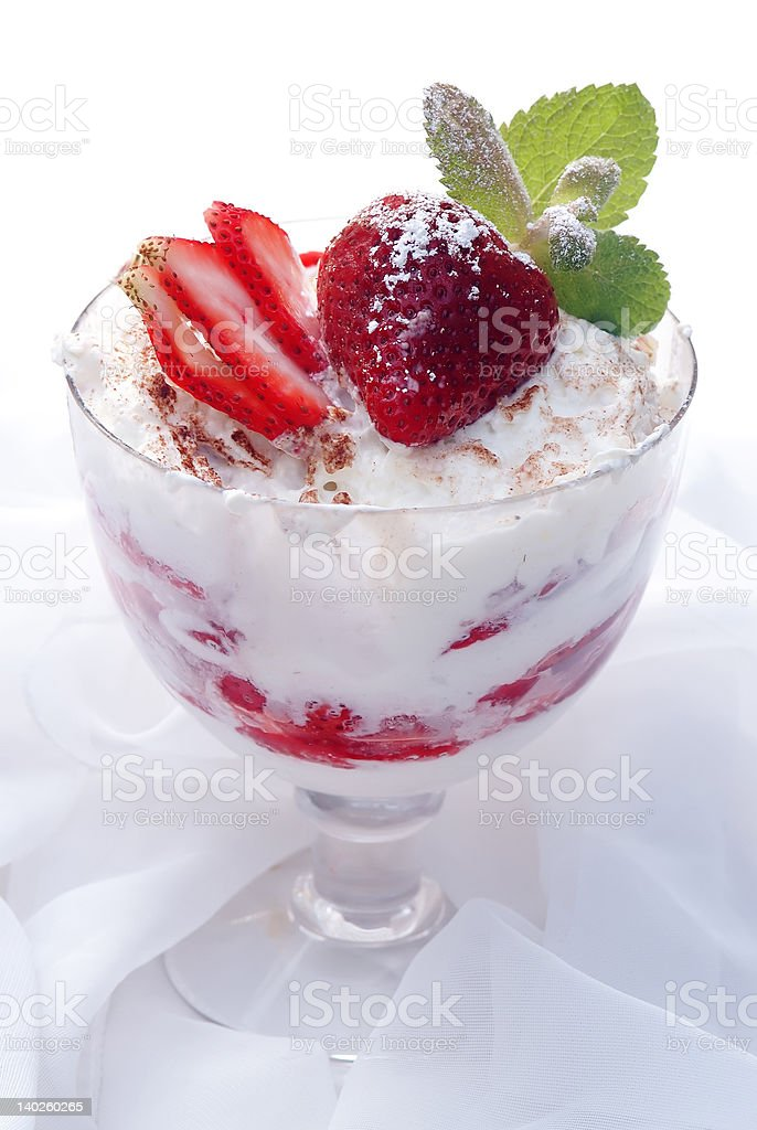 Strawberry dessert with wipped cream stock photo