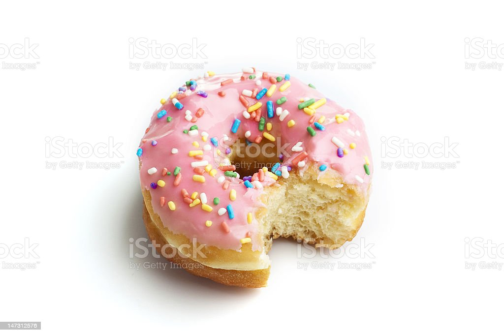 Strawberry donut with a bite taken out stock photo