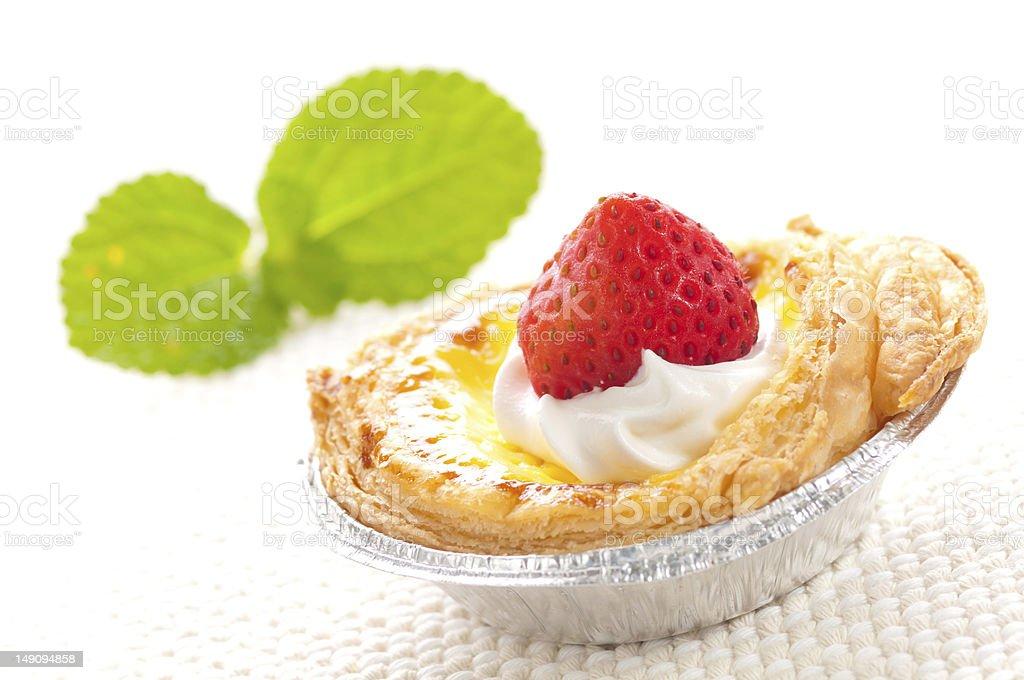 Strawberry egg tart royalty-free stock photo